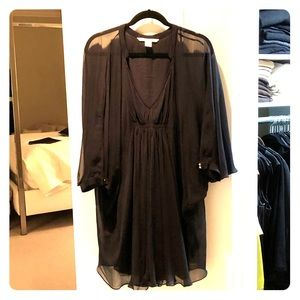 DVF black silk 'Fluerette' dress.